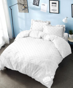 Bed Cover Set D'luxe T30 Embossed Pure White | D'LUXE